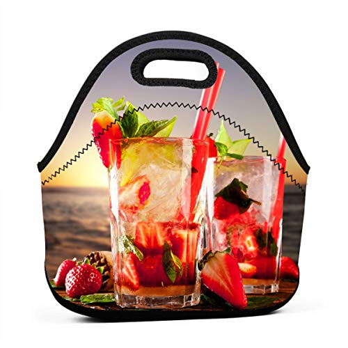 Janeither Beach Tropical Strawberry Cocktails Portable Reusable Lunch Bag Waterproof Picnic Tote Insulated Cooler Zipper Box ()