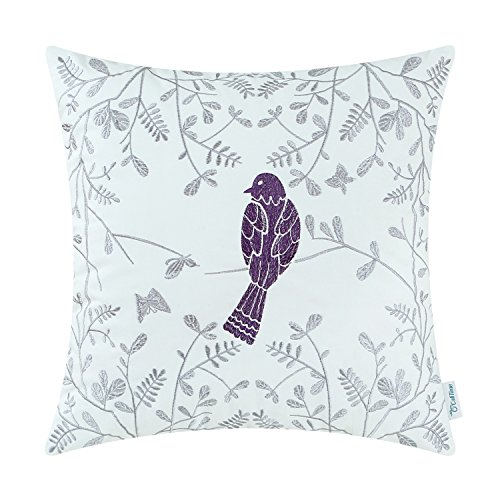 CaliTime Cotton Throw Pillow Case Cover for Bed Couch Sofa Cute Bird in Gray Garden Embroidered 18 X 18 Inches Purple from CaliTime