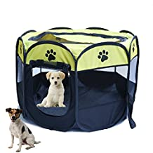 Pet Cat Cage Dog Kennel Puppy Soft Playpen Crate Foldable Octagonal Tent Fence Oxford Cloth Outdoor (S, Yellow)