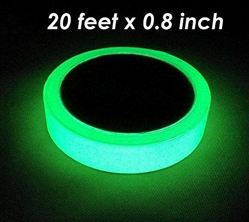 Glow in the Dark Green Luminous Tape Sticker 20 feet Length x 0.8 inch width: Removable, Waterproof, -