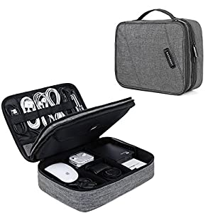 51slRwf3rvL. SS300 - BAGSMART Electronic Organizer Double Layer Travel Cable Organizer Cases Electronics Accessories Storage Bag for 10.5 Inch iPad Pro, iPad air, Charger, Kindle, Grey