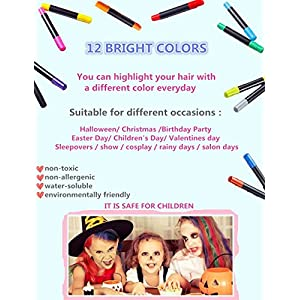 Hair Chalk Set anngrowy 12 Colorful Temporary Hair Chalk Pens Salon for Girls Boys Women Men Non-Toxic Washable Hair Dye Colors for Party Cosplay Theater Halloween Girl's Night Out