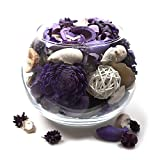 Qingbei Rina Gifts,Terquise Potpourri Bag,including flower,Petal,Pinone,Perfume Satchet in Glass Bowl.Home Decoration.1.6LB (Purple)