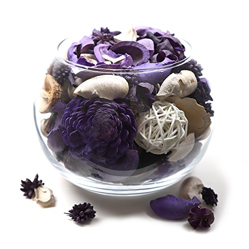 Qingbei Rina Living Room Vase, Purple Scent Fresh Natural Potpourri Glass Vase, Dried Flowers and Plants, Home Office Rome Decor, Thanksgiving Gift. Christmas Decorations, 22.4OZ. (Purple)