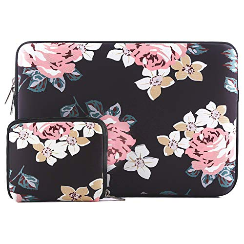 MOSISO Laptop Sleeve Compatible 13-13.3 Inch MacBook Pro, MacBook Air, Notebook with Small Case, Water Repellent Lycra Rose Pattern Protective Carrying Bag Cover, Black