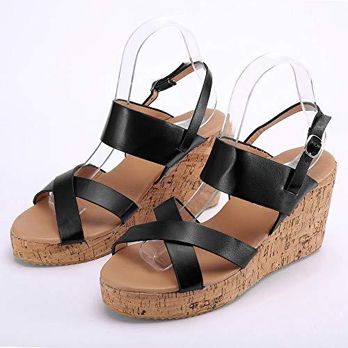 Verano Mares Mujer Tacon Zapatos Bohemias Planas Romanas Gladiador a Alpargatas Plataforma Negro Sandalias Zapatillas Playa Cu Cinnamou 867xqHwP5Y