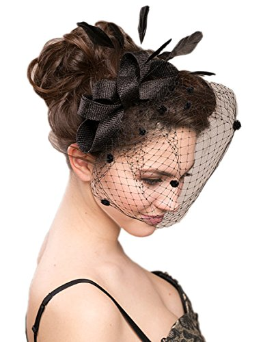 vimans Women's Bowknot Feather Detachable Cocktail Party Veil Fascinator Hair Clip Hat Black