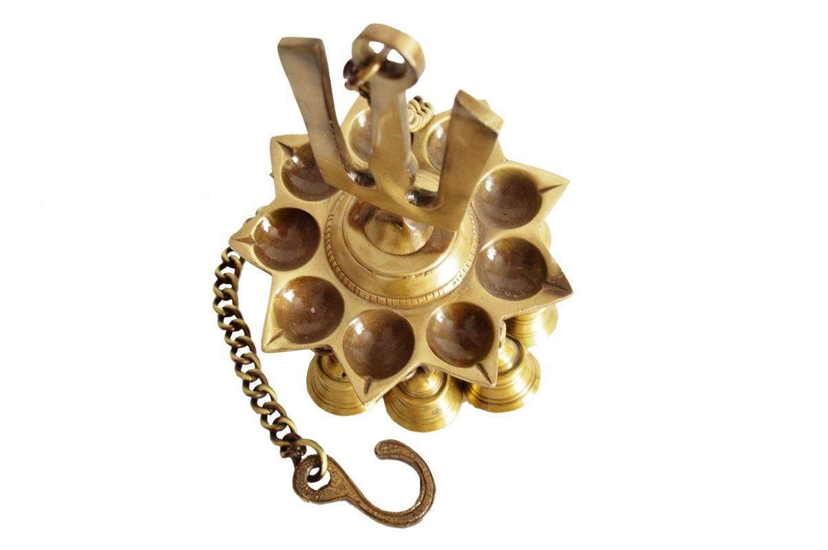 Shri Surya Handicrafts Brass Hanging/Diya / Deepak/Oil Lamp With Bells