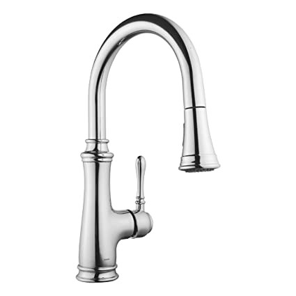 Keewi Kitchen Faucet Chrome Single Handle Pull Down Kitchen Faucet, Kitchen  Sink Faucet, Single Hole Kitchen Faucet with Sprayer, Single Lever Kitchen  ...