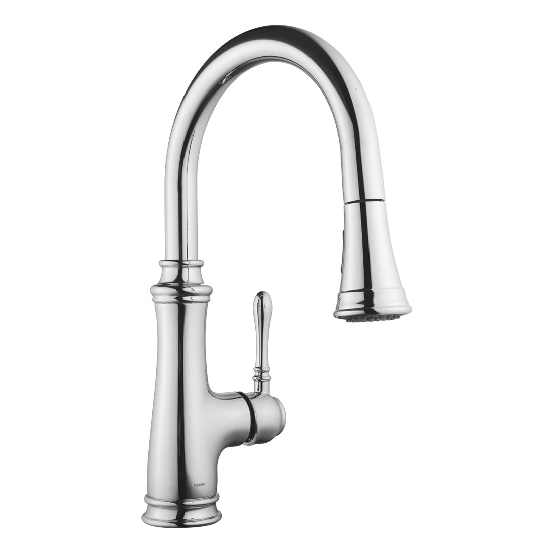 Keewi Kitchen Faucet Chrome Single Handle Pull Down Kitchen Faucet, Kitchen Sink Faucet, Single Hole Kitchen Faucet with Sprayer, Single Lever Kitchen Faucet Sink Faucet with Sprayer