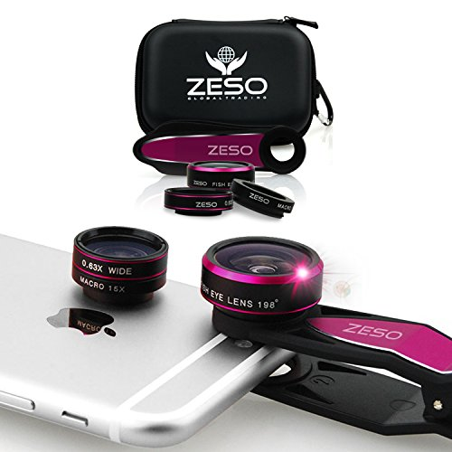 Cell Phone Camera Lens 3 In 1 Kit by Zeso | Professional Fisheye, Macro & Wide Angle Lenses | For iPhone, Samsung Galaxy, Android, iPads, Tablets | Universal Phone Clip & Hard Storage Case | 4 Colors -  Zeso Lens