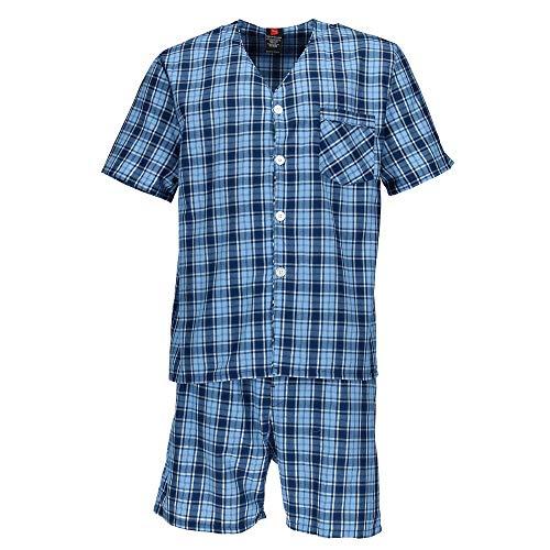 Hanes Big and Tall Short Sleeve Short Leg Pajama Set, 5X, New Blue Plaid