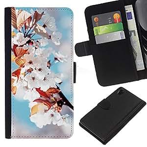 LECELL--Cuero de la tarjeta la carpeta del tirón Smartphone Slots Protección Holder For Sony Xperia Z2 D6502 -- Flores blancas --