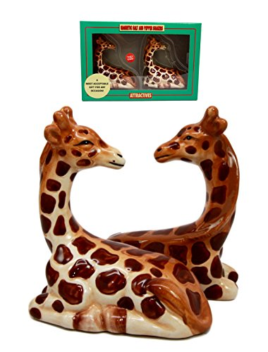 Zoo Safari Tall Giraffe Animal Lovers Ceramic Magnetic Salt Pepper Shakers Set Figurines Wildlife Coat Racks