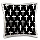 3D Rose Black Christian Pattern with White Religious Crucifix Crosses Pillow Case, 16'' x 16''