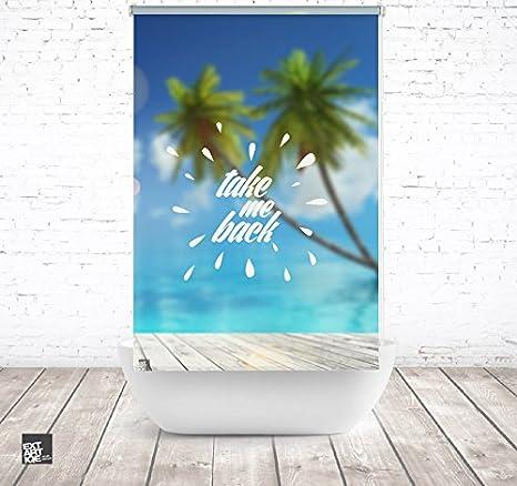 EXTARTIQE extar tiqe Diseño – Estor para Ducha (100 cm Textil Take Me Back Palm baño – Estor para bañera o Ducha: Amazon.es: Juguetes y juegos