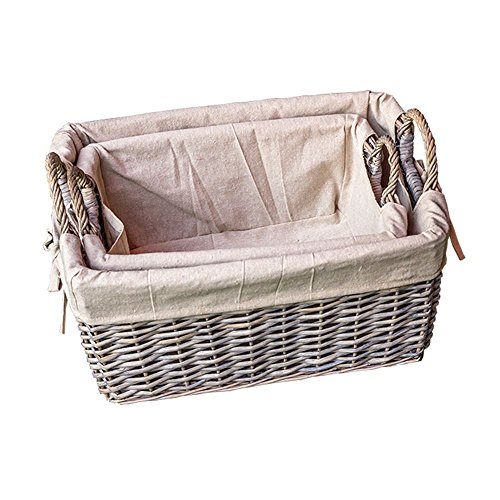 Set of 2 Provence Liner Wicker Storage Baskets by Red Hamper