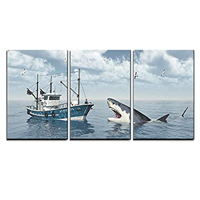 Great White And Fishing trawler - 3 Panel Canvas Art