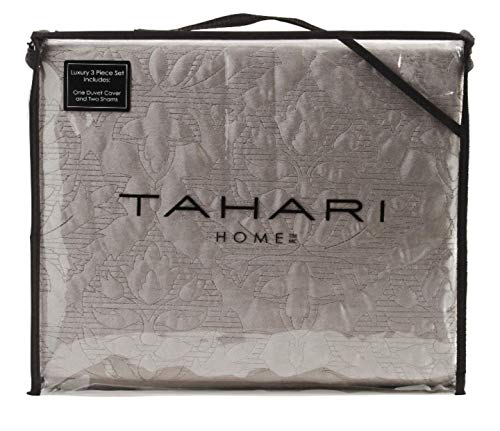 Tahari King Duvet Cover Set Soft Luxurious Velvet Bedding 3 Piece, Solid with Textured Floral Medallion Pattern, Grey