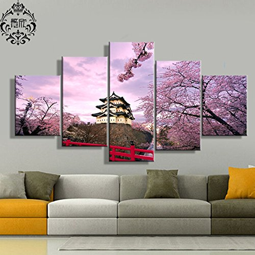 [LARGE] Premium Quality Canvas Printed Wall Art Poster 5 Pieces / 5 Pannel Wall Decor Cherry Blossom Japan Painting, Home Decor Pictures - With Wooden (Japan Cherry Blossom)