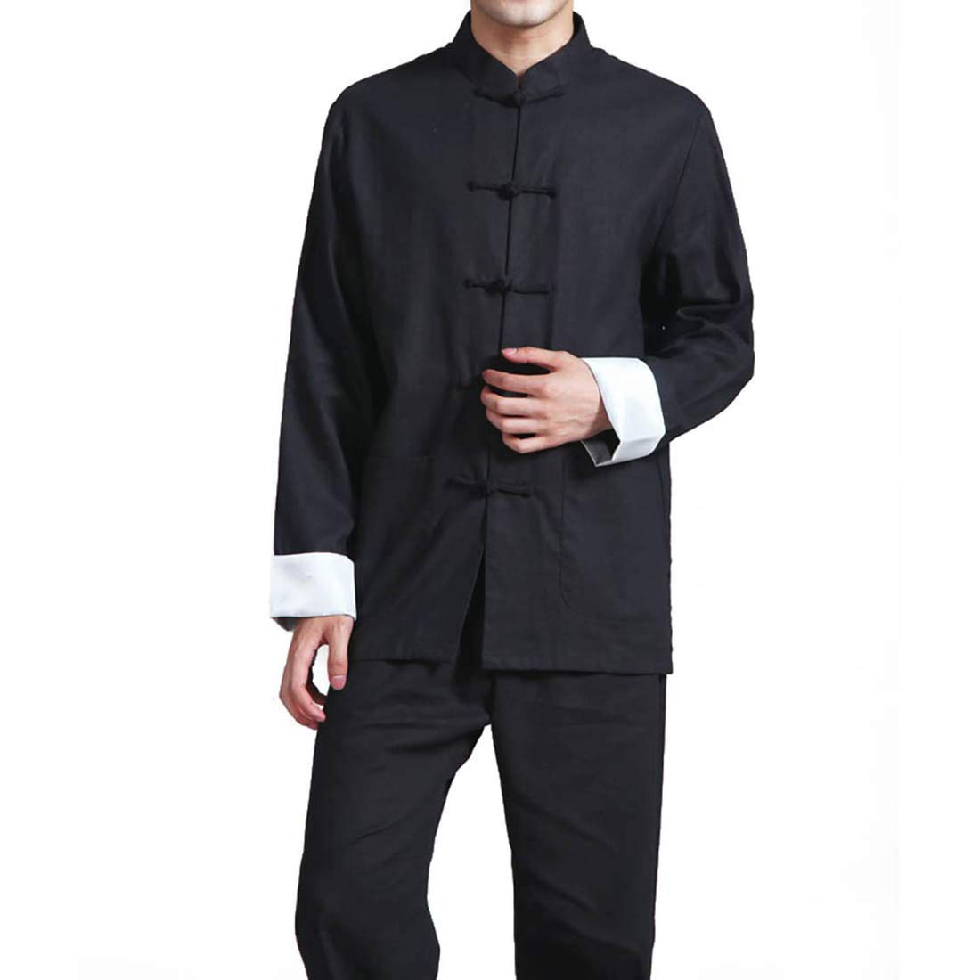 Mens Cotton Linen Kung Fu Suit Chinese Martial Arts Uniform Meditation Suit Roll-Up Sleeve Frog Button Shirt Pants Outfit