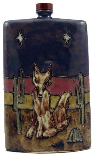 MARA STONEWARE COLLECTION -44 Ounce Rectangular Flask Collectible Decanter - Desert Coyote Cactus