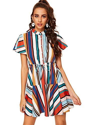 Milumia Women's Casual Striped Button Drawstring High Waist Shirt Dress