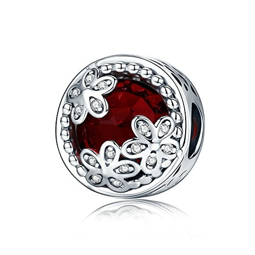 Everbling Dazzling Daisy Meadow Flower CZ 925 Sterling Silver Bead Fits Pandora Charm Bracelet (Red)
