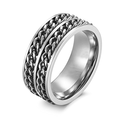 Ring Silver Chain (Nanafast 9mm Titanium Stainless Steel Double-Chain Spinner Band Ring for Men Silver Size 8)