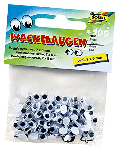 folia 750705 - Wiggly Eyes, Oval, 7 x 5 mm, Pack of 100, White (Ovale Augen)