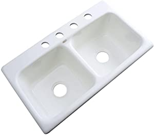 Thermocast Brighton Drop-in Acrylic 33x19x9 in. 1-Hole Double Bowl Kitchen Sink in White