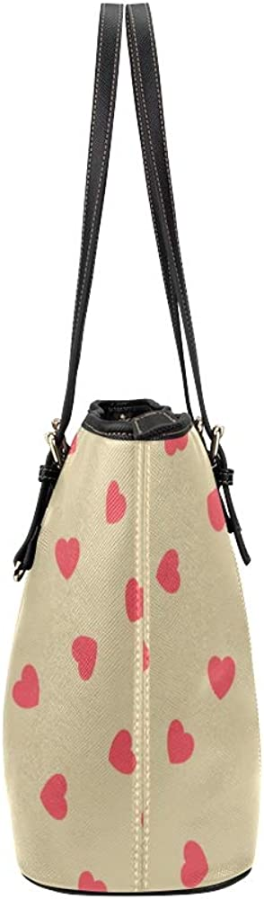 Large Tote Organizer Valentine Day Romantic Sweet Happiness Love Design Hand Drawn Art Leather Hand Totes Bag Causal Handbags Zipped Shoulder Organizer For Lady Girls Womens A Tote Bag
