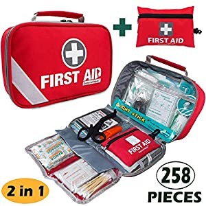 First Aid Kit (215 Piece) + Bonus 43 Piece Mini First Aid Kit – Includes Emergency Blanket, Bandage, Scissors for Home…