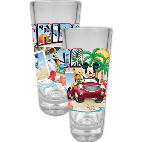 DISNEY MICKEY MOUSE AND FRIENDS FLORIDA POSTCARD SHOT GLASS by Disney