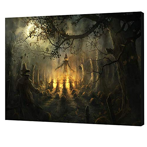JESC One Piece Scary Halloween Decoration Wall Art Dark Forest Halloween Witch Wall Decorations Festive Decorations Poster Paintings on Canvas -