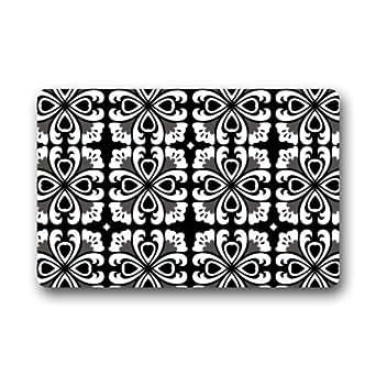 """Recomendar descuento blanco y negro flores Quatrefoil interior/al aire libre Felpudo 23.6""""(L) X 15,7(W)"""
