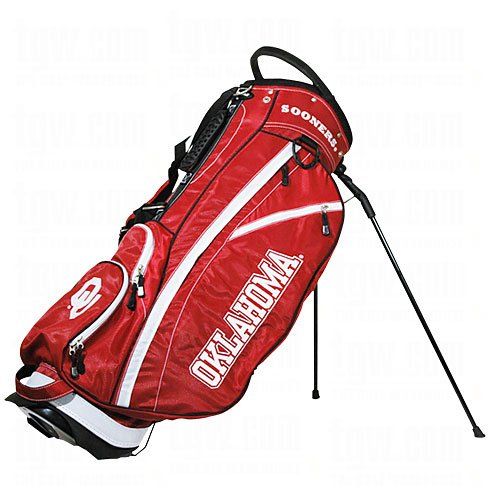 Team Golf NCAA Oklahoma Sooners Fairway Golf Stand Bag, Lightweight, 14-way Top, Spring Action Stand, Insulated Cooler Pocket, Padded Strap, Umbrella Holder & Removable Rain Hood