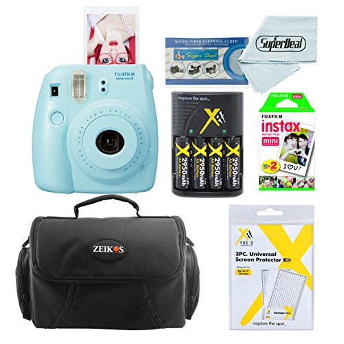 Fujifilm Instax Mini 8 Instant Film Camera (Blue) With Fujifilm Instax Mini Instant Film Twin Pack (20 Sheets) + Compact Bag Case + Batteries & Battery Charger by Fujifilm