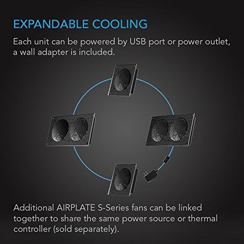AC Infinity AIRPLATE S5, Quiet Cooling Fan System 8'' with Speed Control, for Home Theater AV Cabinets by AC Infinity (Image #4)