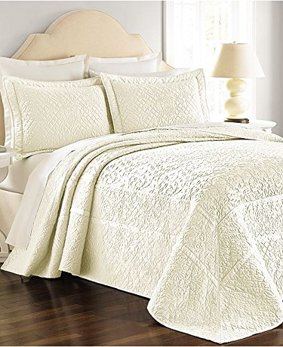Martha Stewart Collection Bedspread Twin Size Flowering Trellis Ivory