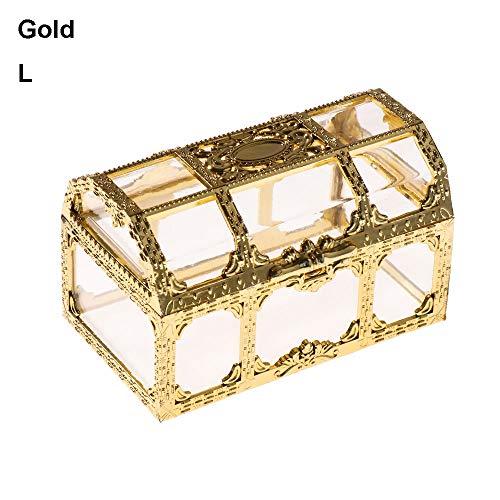 (Wedding Souvenir Trinket Organizer Plastic Transparent Treasure Chest Jewelry Storage Pirate Candy Box(L,L))