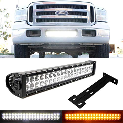 iJDMTOY Lower Grille Mount 20-Inch Dual Color LED Light Bar Kit For 1999-07 Ford F250 F350 Super Duty, Includes (1) 120W LED Lightbar, Lower Bumper Opening Mounting Brackets & On/Off Switch Wiring Kit