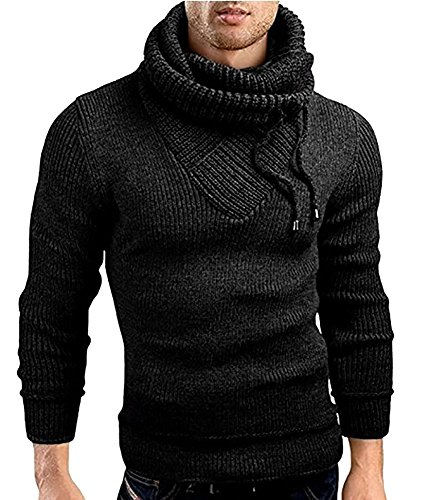 Male Stand Cowl Neck Sweater Ribbed Long Sleeve Turtleneck Pullover Knitted Sweater with Drawstring Black by Ferbia