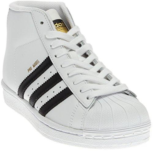 adidas Originals Pro Model J Fashion Sneaker (Little Kid/Big Kid), White/Black/White, 5 M US Big Kid