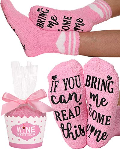 If You Can Read This Bring Me Some Wine Socks Funny Fuzzy Slipper Socks Novelty Socks Christmas White Elephant Gift For Women (Pink-Heart Style)