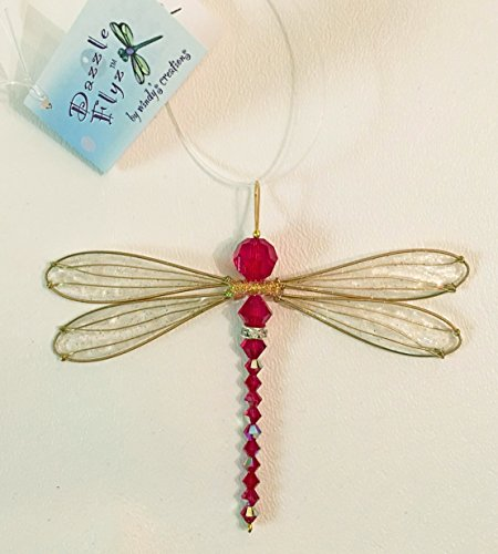Dragonfly Small Suncatcher Golden-Winged Mobile with Iridescent Siam Red Swarovsky Body