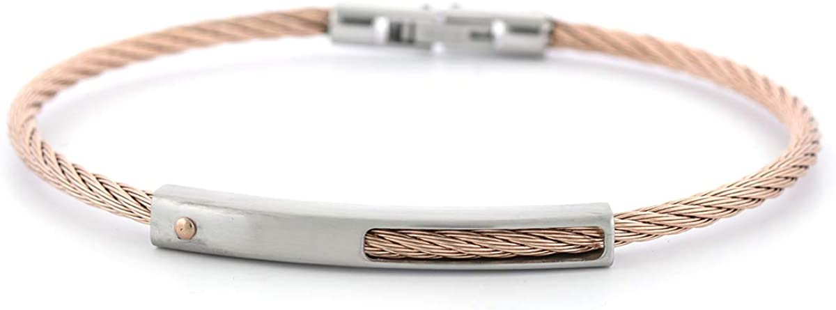 K-PENKO Mens Steel Cable Bracelet for Twisted Delight Collection