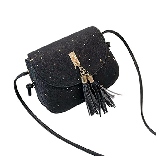 with Bag Leather wallet Black Shoulder Sequins covery GINELO Bag bling Crossbody women's Tassel Women's pqIHn1wXx