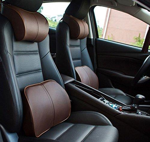 Upscale Leather Car Headrest Pillow(Black) - 1