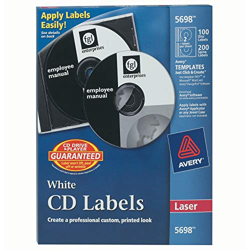 Avery CD Labels for Laser Printers, White, 100 Disc Labels and 200 Spine Labels ()
